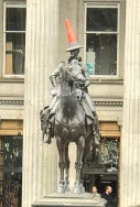 The well hatted Duke of Wellington outside Glasgow's Modern Art Museum.