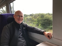 Husband Jimmy on the Train from Edinburgh to Glasgow.