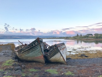 Abandoned boats on the road from Craignure, Scotland to Tobermory.