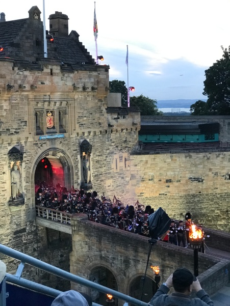 For the Tatoo, many bands come from Edinburgh Castle onto the field in front.