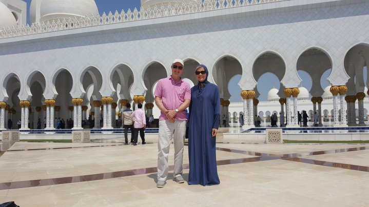 Jimmy dressed for the Sheikh Zayed Grand Mosque - I had to borrow an abaya. But all is well that ends well.