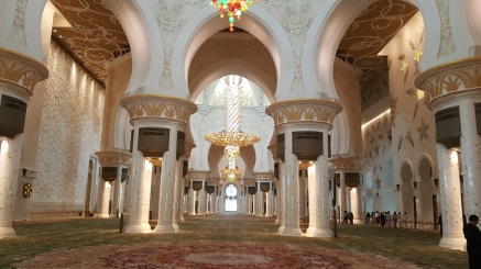 The interior of a Mosque prayer hall, grand and glorious.