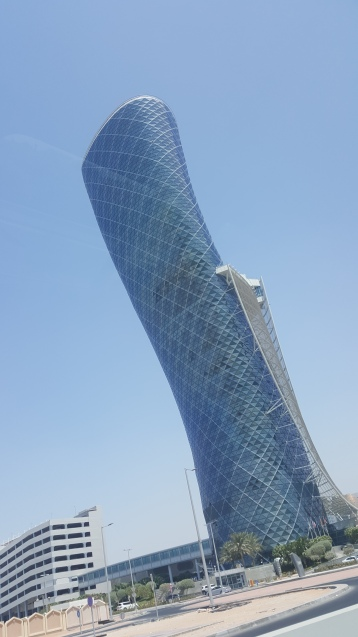 The world's leaningest tower, Capital Gate in Abu Dhabi. Of course Jimmy had to tilt the camera further for comic effect (haha).