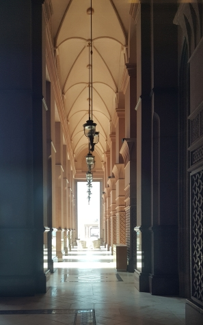 Exterior walkway at Emirates Palace evocative of old Arabia.