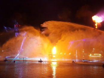Fire and water do not mix - except at the Dubai Festival City Imagine show.