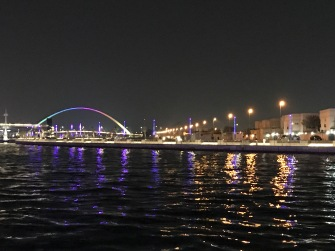 The view along the Dubai Water Canal. Development along the canal is still to come, but the infrastructure is there (paths, lights, and music) and it is a pleasant walk along the water.