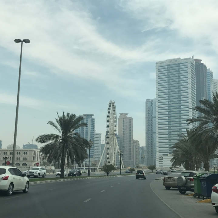 Along the Sharjah Corniche - a view of the Sharjah Eye.