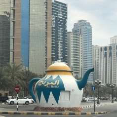 A large concrete teapot along the Sharjah Corniche.