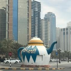 A large concrete teapot along the Sharjah Corniche.