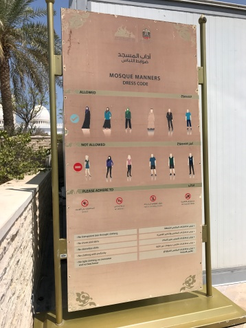 Dress code for the Sheikh Zayed Grand Mosque - dress carefully before you come. Although they will lend you coverings, they add to the heat.