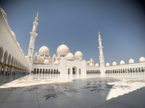 A view of the marble courtyard of the Sheikh Zayed Grand Mosque.