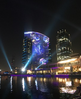 The nearby Intercontinental Festival City Hotel is a canvas for the video projection.