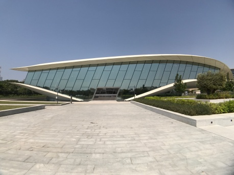 The Etihad Museum from one end of the plaza.