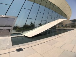 A closer up view of the Etihad Museum.