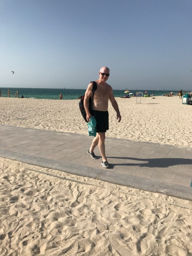 Jimmy on the Kite Beach active trail, which goes from Burj Al Arab through to Jumeirah.