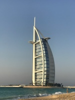 A view of the iconic sail shaped Burj Al Arab from the beach at Madinat Jumeriah.