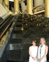 With my Canadian friend Angie in the lobby of the Burj Al Arab. Lots of gold, lots of water shooting about.