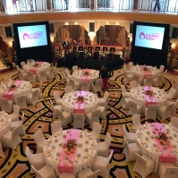 Beautiful & colorful table dressings at the Burj Al Arab brunch for Expat Woman.com.