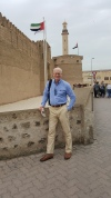 Jimmy in front of historic Al Fahidi fort, which now houses the Dubai Museum.