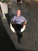 Jimmy sitting in one of the cool D3 outdoor chairs...