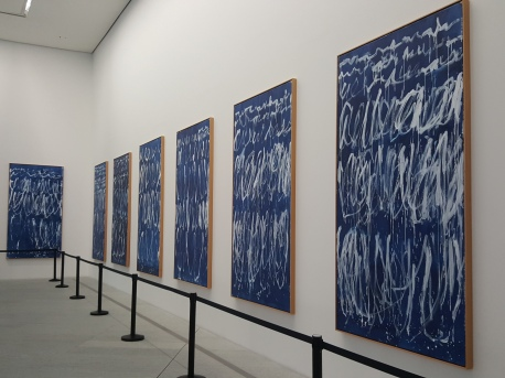 Cy Twombly paintings in the foyer of the Louvre Abu Dhabi..