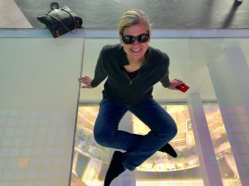 Sitting 500 feet above ground on glass! at the Dubai Frame.