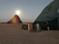 Getting the balloons ready outside Dubai in the Empty Quarter.