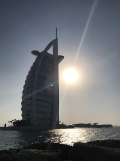 The Burj Al Arab viewed from the shoreline.
