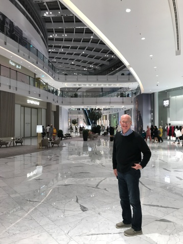 My husband Jimmy at the new Dubai Mall Fashion Avenue extension.