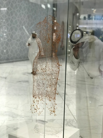 "Dubai Mall's new Fashion Avenue extension has some amazing fashion ""art"" on display - like this barely visible wisp of a dress."