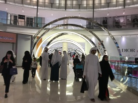 Lit concentric circles marking the entrance to Dubai Mall's new Fashion Avenue extension.