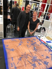 """Me with Artist Robi Walters in front of his soon to be newest work; he typically has art """"beneath"""" the art as shown here."""