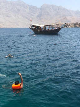 Swimming and snorkeling near Telegraph Island on the dhow cruise off Khasab, Oman.