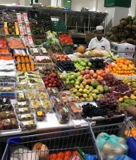 An amazing array of fruits and vegetables are available at Dubai's Waterfront Market. Not wanting to brave the crowds (it was packed the day we went) we stuck with fish and the dry goods area.