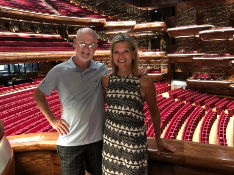 Jimmy and I inside the Dubai Opera House taking the great tour that they offer.