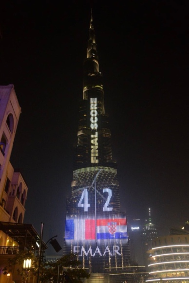 And the Burj Khalifa with the final score.
