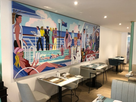 The Lido restaurant on the QE2 Hotel in Dubai is delightfully retro, with original furniture and murals.