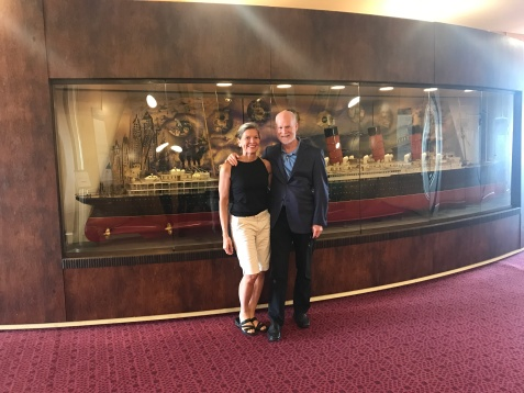 Jimmy and I in front of one of the multiple intricate models of famous cruiseliners aboard the QE2, now a hotel docked in Dubai.